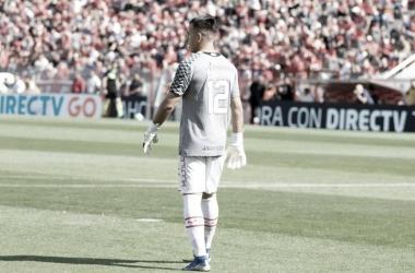 Lucas Chávez, custodiando el arco en Avellaneda. Foto: Facebook Argentinos Juniors.
