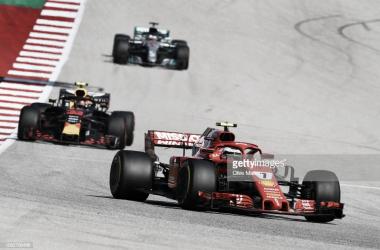 El Gran Premio de EEUU contó con una gran batalla entre Raikkonen, Hamilton y Verstappen. Foto: Getty Images