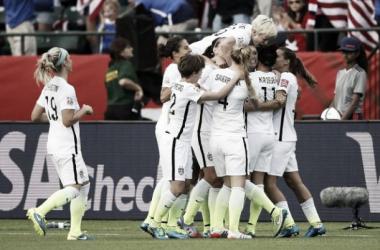 Alex Morgan puts USA ahead. Photo Source: @ussoccer_wnt