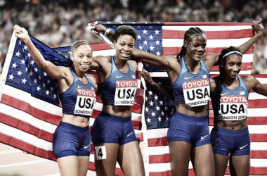 Team USA celebrate winning gold in the 4x400m (Photo: Anadolu Agency)