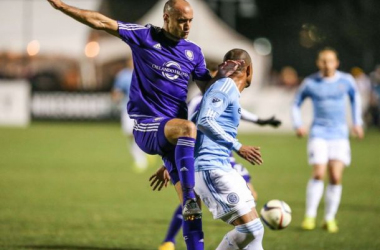 Aurelien Collin faces off against a New York City FC player in preseason.Image Courtesy of USA Today
