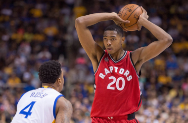 Toronto Raptors forward Bruno Caboclo (20) controls the basketball against Golden State Warriors guard Brandon Rush (4) during the first half in a preseason game at SAP Center. |Kyle Terada-USA TODAY Sports|