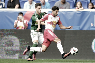Sal Zizzo facing off against the Portland Timbers. | Photo: Brad Penner-USA TODAY Sports