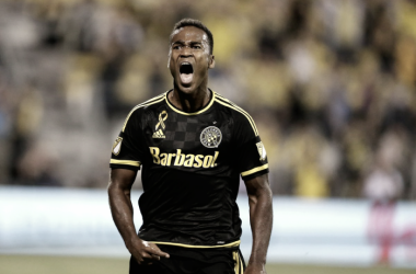 Ola Kamara celebrating a goal during his spell in Columbus.   Photo: Joe Maiorana-USA TODAY Sports