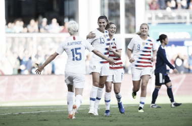 USA celebrates Alex Morgan's goal//Source:ussoccer.com