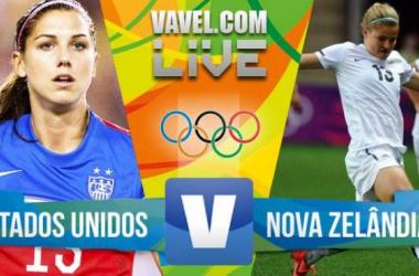 Resultado Estados Unidos x Nova Zelândia no Futebol Feminino do Rio 2016 (2-0)