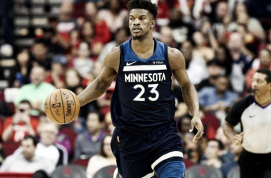 Minnesota Timberwolves guard Jimmy Butler (23) dribbles the ball during the third quarter against the Houston Rockets at Toyota Center. |Troy Taormina-USA TODAY Sports|