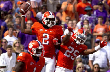 Wide Receiver Sammy Watkins of Clemson (2) is projected as a top five pick in this week's NFL draft (Joshua S. Kelly-USA TODAY Sports)