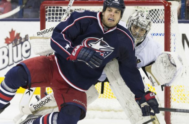 Columbus Blue Jackets right wing Nathan Horton is sidelined again following abdominal surgery (Greg Bartram-USA TODAY Sports)