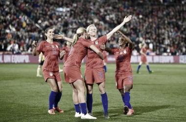 Megan Rapinoe (15) celebrates after scoring a beautiful goal against Australia in the USWNT's 5-3 victory on Thursday. | Photo: @USWNT