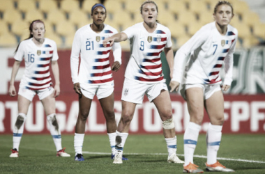 Rose Lavelle, Jessica McDonald, Lindsey Horan, and Abby Dahlkemper prepare for a set piece in the 1-0 win over Portugal.  Photo: Gualter Fatia - Getty Images