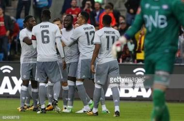 Utd celebrate vs Valerenga | Photo: Andrew Halseld-Budd