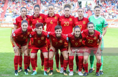 Spanish players line up ahead of their European Championship encounter with Austria this summer