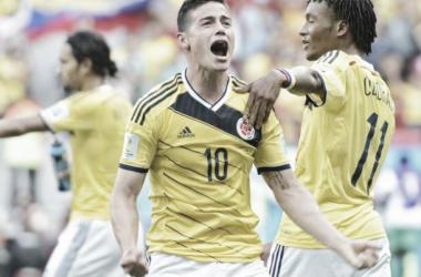 James ajuda Colômbia a chegar aos quartos-de-final. (independent.co.uk)