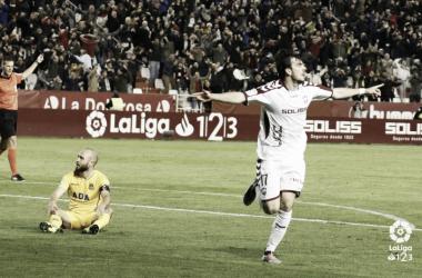 Eugeni celebra su tanto ante el Alcorcón | LaLiga 1|2|3