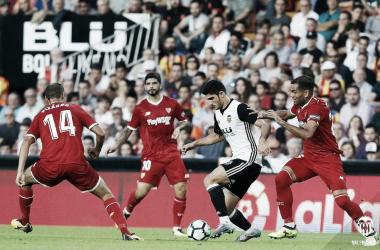 Gonçalo Guedes brilló con luz propia en el duelo de Mestalla frente a los hispalenses. Fuente: Valencia CF: