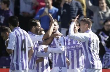 Los jugadores del Real Valladolid festejando un gol. // Foto: Real Valladolid