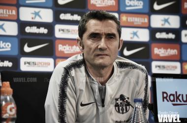 El entrenador azulgrana durante la rueda de prensa del sábado / Foto: Noelia Déniz (VAVEL.com)