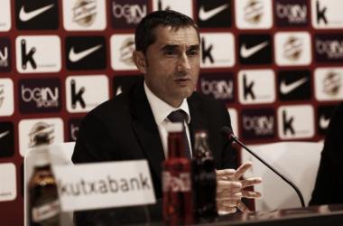 Ernesto Valverde, en rueda de prensa.   Fuente: Athletic.