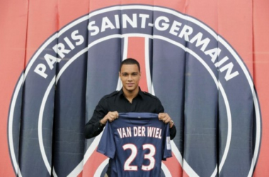 Van Der Wiel in his PSG presentation / Press Association Images