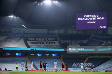 <div>MANCHESTER, ENGLAND - MARCH 02: A general view inside the stadium as the LED screen displays a message indicating that VAR are reviewing the fourth goal scored by Gabriel Jesus of Manchester City (not pictured). The goal is later awarded during the Premier League match between Manchester City and Wolverhampton Wanderers at Etihad Stadium on March 02, 2021 in Manchester, England. Sporting stadiums around the UK remain under strict restrictions due to the Coronavirus Pandemic as Government social distancing laws prohibit fans inside venues resulting in games being played behind closed doors. (Photo by Clive Brunskill/Getty Images)</div><div><br></div>