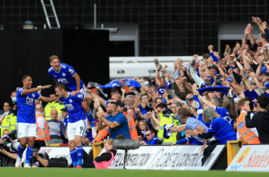 Jamie Vardy, Youri Tielemans and match winner Marc Albrighton celebrate in-front of a jubilant away end in Norwich on Saturday.