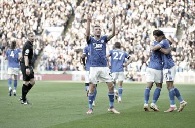 Jamie Vardy, el autor del 3-2 para el Leicester. Foto: Premier League.