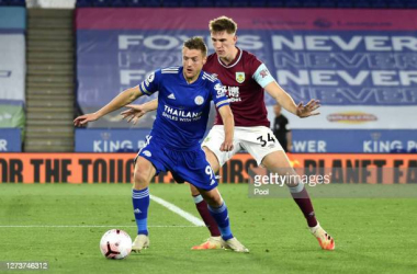 Jamie Vardy in action against Burnley | Credit: Pool | Getty Images