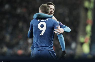 Vardy festeja el gol del triunfo. Foto: Leicester City.