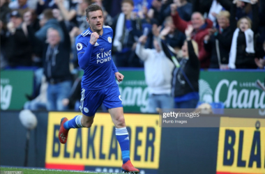 Jamie Vardy celebrates his goal in the 2-0 win over AFC Bournemouth | Photo: Getty/ Plumb Images
