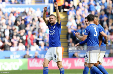 Jamie Vardy celebrates scoring against Bournemouth | Photo: Getty/ Plumb Images