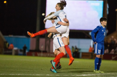 England celebrate one of their five goals (photographer: Kunjan Malde)