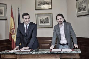 """<p class=""""MsoNormal""""><i><span>Pedro Sánchez Castejón y Pablo Iglesias Turrión en el Congreso de los Diputados. Foto: Perfil oficial de Facebook de Pablo Iglesias</span></i></p>"""