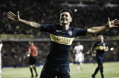 ALEGRÍA. Mauro Zárate celebra su gol ante Deportes Tolima. Foto: Información CABJ.