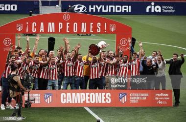 <div><div>Atletico de Madrid Celebrate Winning La Liga</div><div><br></div><div>Atletico players during the presentation ceremony of the La Liga 20/21 championship trophy at Estadio Wanda Metropolitano on May 23, 2021 in Madrid, Spain. (Photo by Jose Breton/Pics Action/NurPhoto via Getty Images)</div></div>