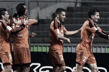 Joie collective du FC Lorient, qui retrouve un peu de confiance. Crédit : UEFA.com