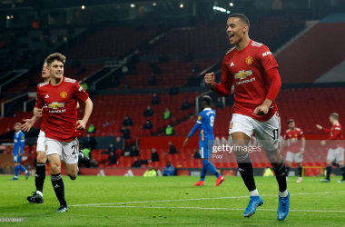 Mason Greenwood and Daniel James celebrating the winning goal | Photo by Phil Noble - Pool/Getty Images