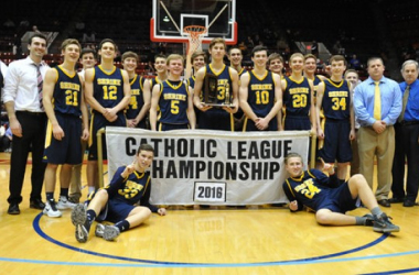 The Shrine Catholic Knights won the CHSL C-D Championship with a 49-38 win over Waterford Our Lady of the Lakes. The game was played on Sunday February 28, 2016 at Callihan Hall in Detroit. (Ken Swart / MIPrepZone)