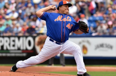 Mar 7, 2016; Port St. Lucie, FL, USA; New York Mets starting pitcher Bartolo Colon (40) delivers a pitch during a spring training game against the Detroit Tigers at Tradition Field. (Steve Mitchell, USA TODAY Sports)
