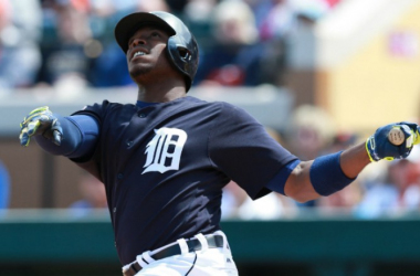Detroit Tigers outfielder Justin Upton hit his first two home runs this spring to help the Tigers defeat the Philadelphia Phillies, 6-5. The game was played at Bright House Field in Clearwater, Florida. (USATSI)