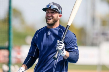 Detroit Tigers' Tyler Collins jokes around during batting practice for an exhibition game against Florida Southern at Joker Marchant Stadium in Lakeland, Fla. on Monday, Feb. 29, 2016.  (Kimberly P. Mitchell / DFP)