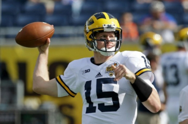 Michigan Wolverines quarterback Jake Rudock warms up before the 2016 Buffalo Wild Wings Citrus Bowl against the Florida Gators. (Source: John Raoux/AP)