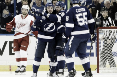 Tampa Bay Lightning right wing Nikita Kucherov celebrates after scoring against the Detroit Red Wings during the first period of Game 1. (AP Photo/Chris O'Mara)