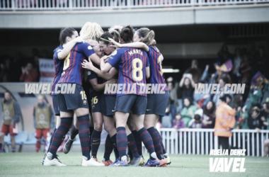 Imagen de la celebración del FC Barcelona Femenino. FOTO: Noelia Déniz