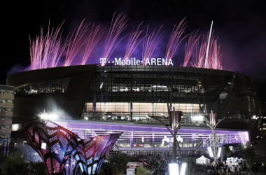 Fireworks explode over T-Mobile Arena during the venue's grand opening celebration on the Las Vegas Strip on April 6, 2016 in Las Vegas, Nevada.