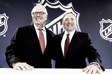 New Las Vegas NHL franchise owner Bill Foley and commissioner Gary Bettman of the National Hockey League pose for a photo during the Board of Governors Press Conference prior to the 2016 NHL Awards at Encore Las Vegas on June 22, 2016 in Las Vegas, Nevada