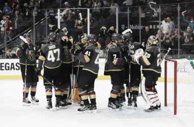 Vegas Golden Knights celebrate another victory. (Photo:JEFF SPEER/ICON SPORTSWIRE)