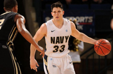 Brandon Venturini (15 points) and the Navy Midshipmen scored their third conference win of the season on Saturday, knocking off rival Army on the road, 75 - 66.(Source: Phil Hoffman - U.S. Naval Academy)