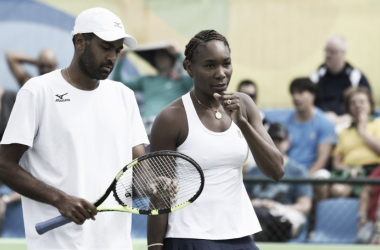 Venus Williams and Rajeev Ram during their Mixed Doubles match (Photo Source: ITF Olympics Official Page)