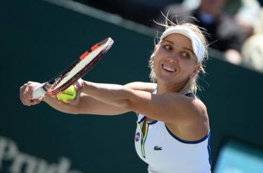 Elena Vesnina serves during her semifinal in Charleston. Photo: Volvo Car Open